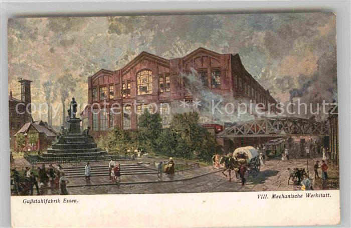 AK / Ansichtskarte Essen Ruhr Gussstahlfabrik Mechanische Werkstatt Kuenstlerkarte Kat. Essen
