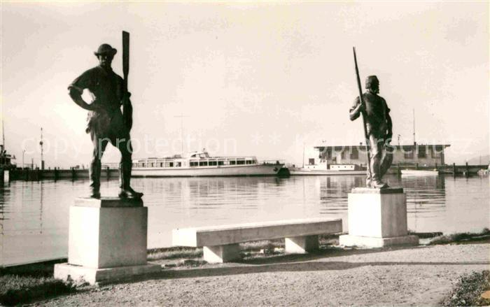 AK / Ansichtskarte Balatonfuered Revesz es Halasz c. szobrok Denkmal Statuen Kat. Ungarn