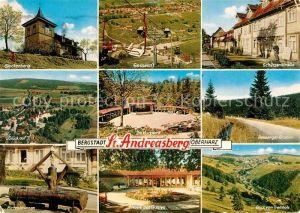 AK / Ansichtskarte St Andreasberg Harz Glockenberg Glueck Auf Hirtebrunnen Schuetzenstrasse Sessellift Kat. Sankt Andreasberg