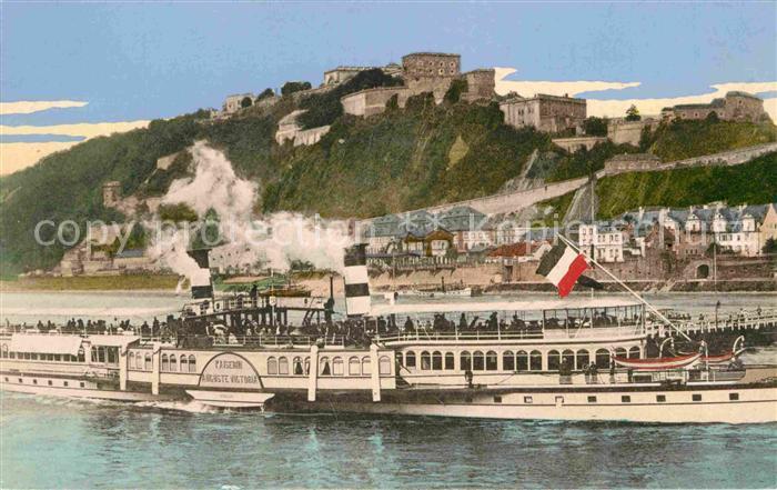 AK / Ansichtskarte Koblenz Rhein Personenschiff Kaiserin Victoria Auguste Ehrenbreitstein Kat. Koblenz