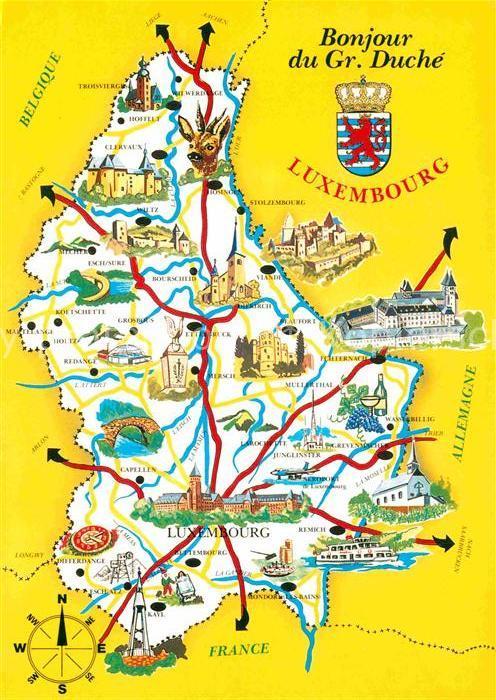 AK / Ansichtskarte Luxembourg Luxemburg Carte du Grand Duche de Luxembourg Landkarte Kat. Luxembourg