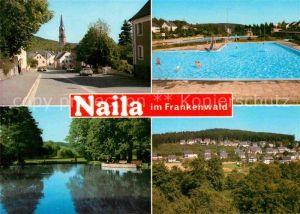 AK / Ansichtskarte Naila Strassenpartie mit Blick zur Kirche Schwimmbad See Siedlung Kat. Naila