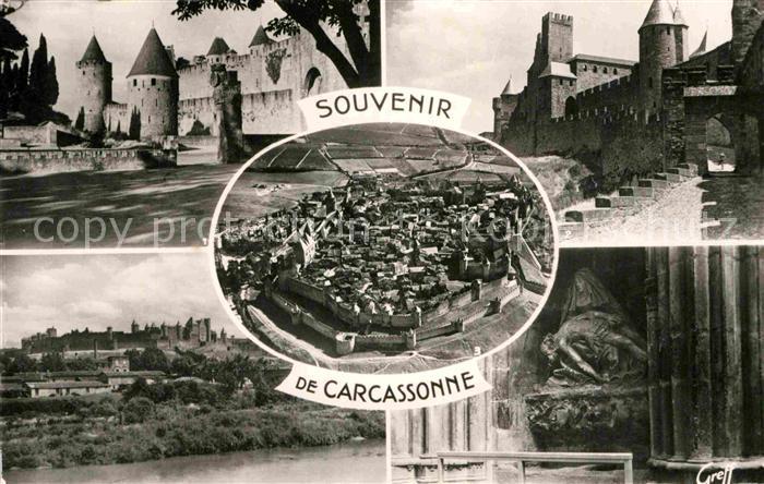 AK / Ansichtskarte Carcassonne Entre de la Cite Montee de la Porte d Aude La Pieta vue aerienne Kat. Carcassonne