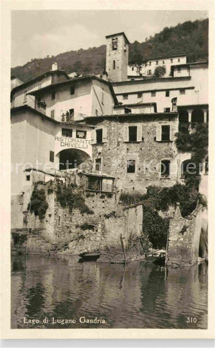 AK / Ansichtskarte Gandria Lago di Lugano Haeuserpartie am Luganer See Ristorante Crivelli Kat. Gandria