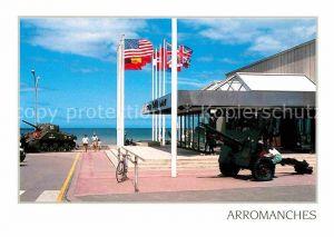 AK / Ansichtskarte Arromanches les Bains Musee du debarquement du 6 juin 1944 Museum Panzer Kanone Nationalflaggen Kat. Arromanches les Bains