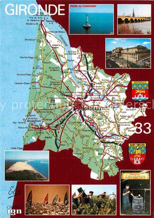 AK / Ansichtskarte Bordeaux und Umgebung Landkarte Kat. Bordeaux