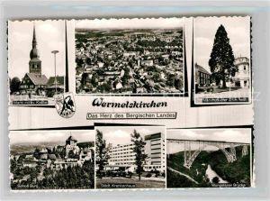 AK / Ansichtskarte Wermelskirchen Markt evangelische Kirche Mammutkiefer Schloss Burg Bruecke Kat. Wermelskirchen
