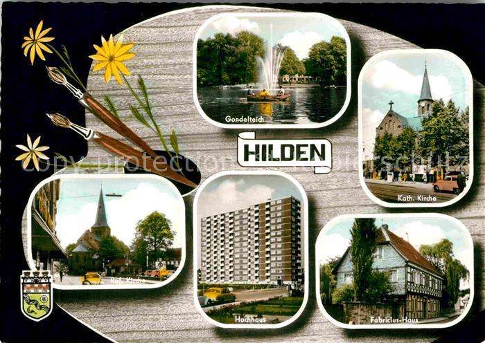 AK / Ansichtskarte Hilden Duesseldorf Gondelteich Kirche Hochhaus Fabricius Haus Kat. Duesseldorf