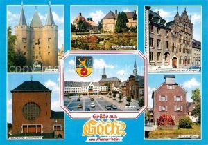 AK / Ansichtskarte Goch Steintor Schloss Halbeck Haus zu den 5 Ringen Markt Kirche An der Niers Wasserrad Kat. Goch