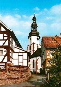 AK / Ansichtskarte Bad Salzschlirf Partie an der Kirche Fachwerkhaeuser Kat. Bad Salzschlirf