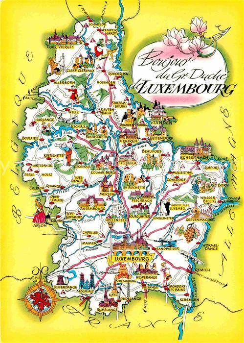 Baustoffe Luxemburg ak ansichtskarte luxembourg luxemburg landkarte mit