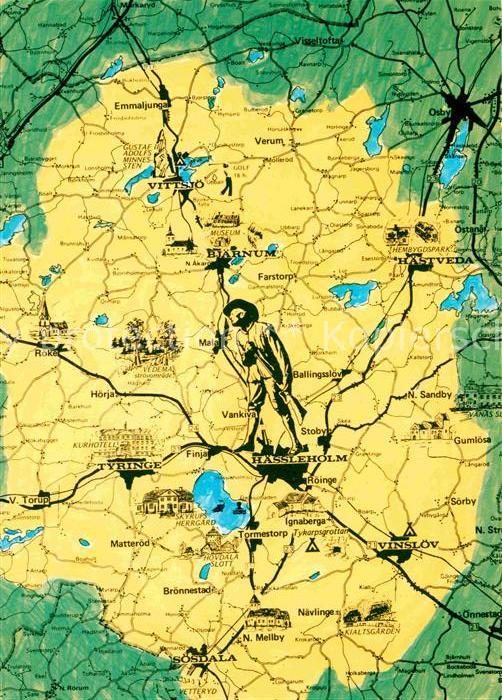 AK / Ansichtskarte Haessleholm und Umgebung Landkarte Kat. Haessleholm