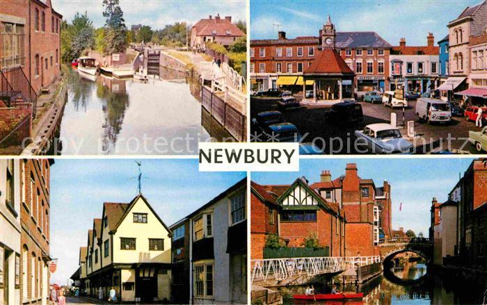 AK / Ansichtskarte Newbury Berkshire Fluss Kennet Jacobean Museum Hauptstrasse Bruecke
