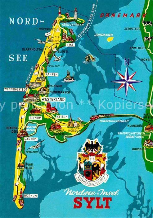 Karte Von Sylt.Ak Ansichtskarte Sylt Landkarte Kat Sylt Ost