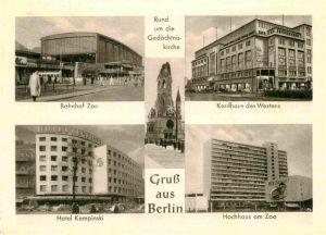 AK / Ansichtskarte Berlin Bahnhof Zoo Hotel Kempinski Hochhaus am Zoo Kaufhaus des Westens Kat. Berlin