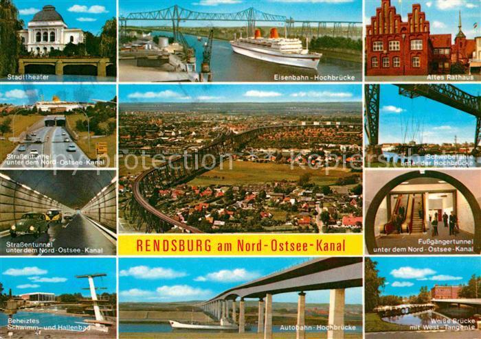 AK / Ansichtskarte Rendsburg Stadttheater Strassentunnel Autobahn Hochbruecke Altes Rathaus Kat. Rendsburg
