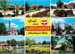 AK / Ansichtskarte Schneverdingen Schulstrasse Evangelische Kirche Quellenbad Verkehrsamt Rathaus Kat. Schneverdingen