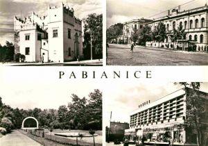 AK / Ansichtskarte Pabianice Poznorenesansowy zamek Park Ulica Armii Czerwonej Pawilon handlowy