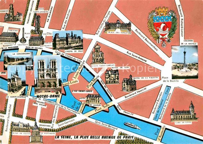 Karte Paris Stadtplan.Ak Ansichtskarte Paris Stadtplan Mit Beruehmten Bauwerken Kat Paris