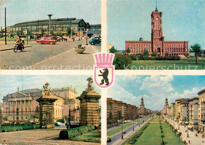 AK / Ansichtskarte Berlin Bahnhof Friedrichstrasse Rathaus Staatsoper Stalinallee Kat. Berlin