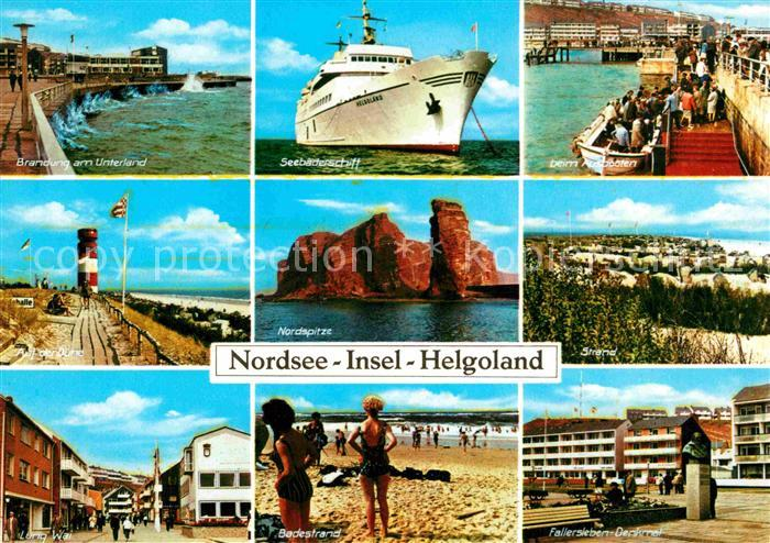 AK / Ansichtskarte Helgoland Brandung Seebaederschiff Leuchtturm Nordspitze Lung Wai Badestrand Fallerslben Denkmal Kat. Helgoland