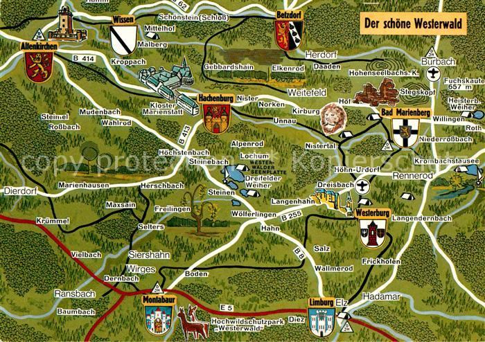 Westerwald Karte.Ak Ansichtskarte Westerwald Region Landkarte Kat Bad Marienberg Westerwald