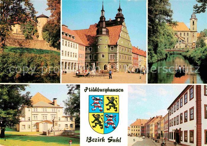 AK / Ansichtskarte Hildburghausen Stadtmauer Rathaus Friedenspark Stadttheater Marx Engels Platz Kat. Hildburghausen