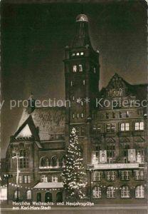 AK / Ansichtskarte Karl Marx Stadt Christbaum Weihnachtskarte Neujahrskarte Nachtaufnahme Kat. Chemnitz