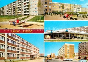 AK / Ansichtskarte Lusan Gera Birkenstrasse Hans Beimler Oberschule Kaufhalle Sued Kat. Gera