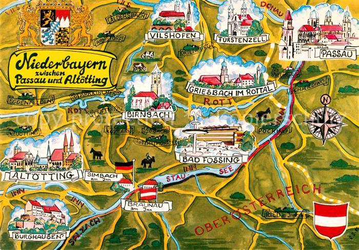AK / Ansichtskarte Passau Karte Niederbayern mit Altoetting Kat. Passau