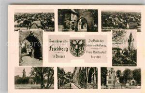 AK / Ansichtskarte Friedberg Hessen Panorama Blick vom Adolfsturm aus Burg Burgtor Schloss Georgsbrunnen Wappen Kat. Friedberg (Hessen)