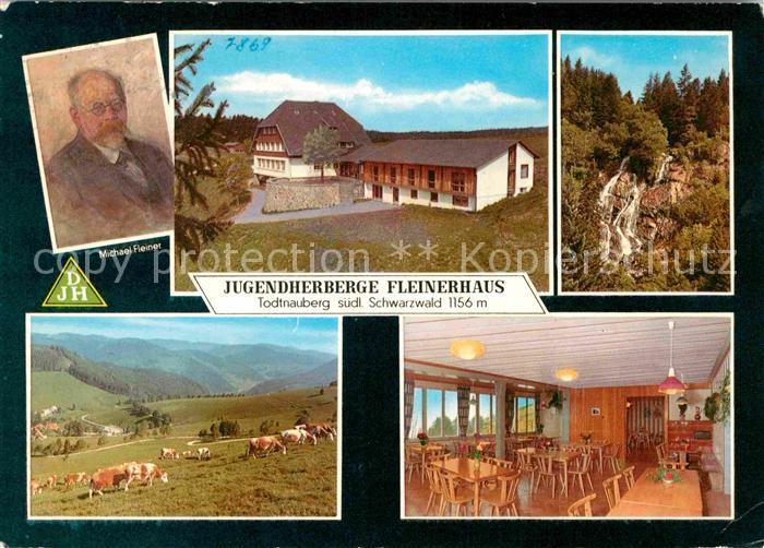 AK / Ansichtskarte Todtnauberg Jugendherberge Fleinerhaus Speisesaal Portrait Michael Fleiner Rinderherde  Kat. Todtnau
