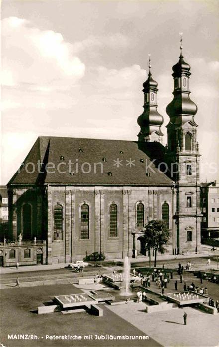 AK / Ansichtskarte Mainz Rhein Peterskirche mit Jubilaeumsbrunnen