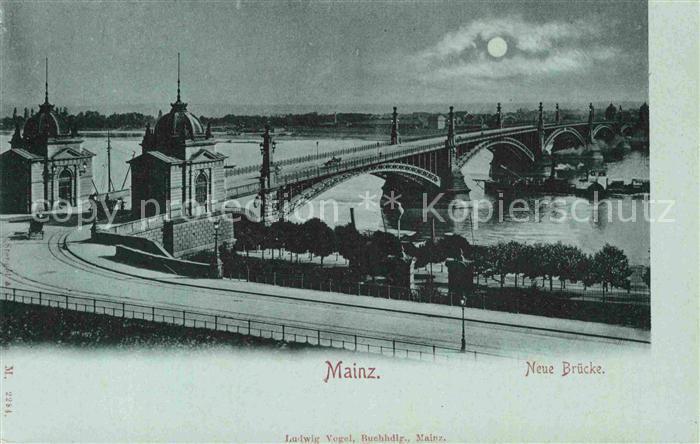 AK / Ansichtskarte Mainz Rhein Neue Bruecke im Mondschein