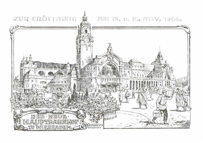 AK / Ansichtskarte Wiesbaden Hauptbahnhof Zeichnung zur Eroeffnung 1906 Kat. Wiesbaden
