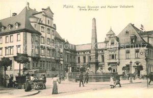 AK / Ansichtskarte Mainz Rhein Neuer Brunnen und Mainzer Volksbank