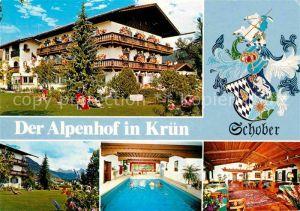 AK / Ansichtskarte Kruen Hotel Pension Alpenhof Garten Hallenbad Gastraum Kat. Kruen