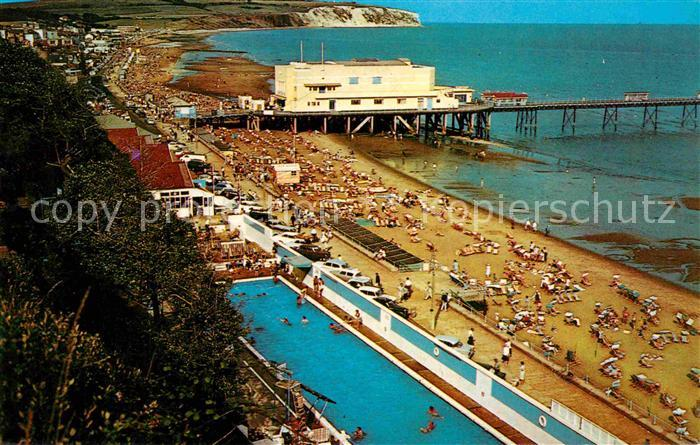 AK / Ansichtskarte Sandown Isle of Wight Swimming Pool Esplanade Pier Pavilion and Culver Cliv Kat. Isle of Wight