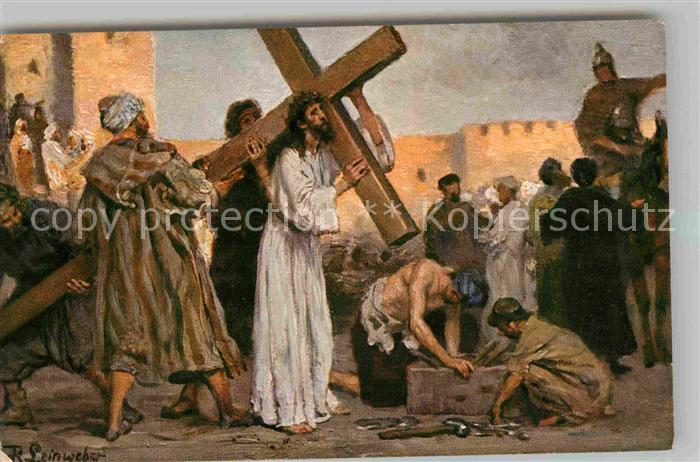 AK / Ansichtskarte Leinweber R. Jesus nimmt das Kreuz auf sich Neues Testament  Kat. Kuenstlerkarte