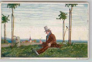 AK / Ansichtskarte Kuenstlerkarte Berthold Clauss Der Naturschwaermer  Kat. Kuenstlerkarte