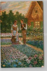AK / Ansichtskarte Kuenstlerkarte Reinhold de Witt Im Blumengarten  Kat. Kuenstlerkarte