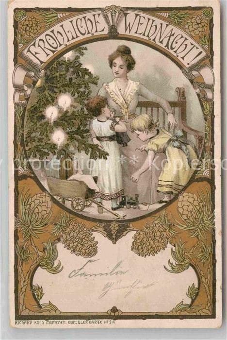 AK / Ansichtskarte Weihnachten Mutter Kinder Spielzeug Puppe Litho Tannenzapfen  Kat. Greetings
