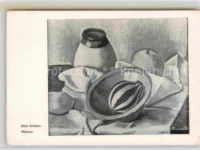 AK / Ansichtskarte Kuenstlerkarte Mundmaler Ernst Stegmann Melonen Stillleben  Kat. Kuenstlerkarte
