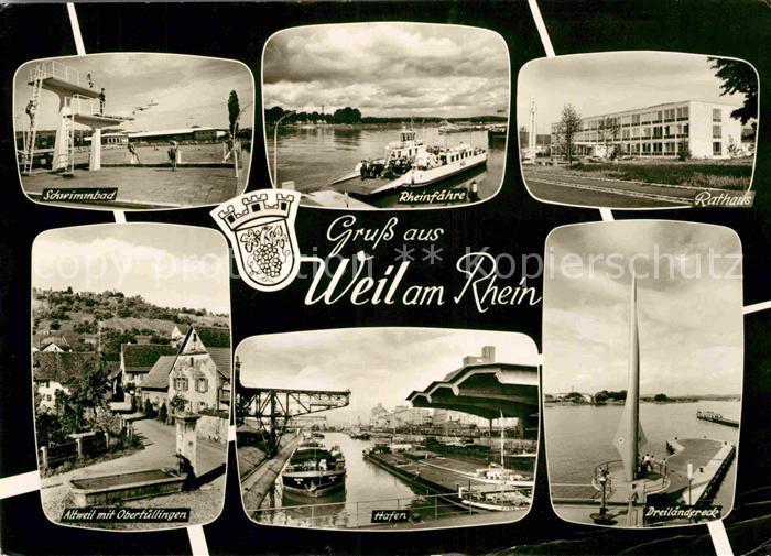 AK / Ansichtskarte Weil am Rhein Schwimmbad Rheinfaehre Rathaus Altweil hafen Dreilaendereck Kat. Weil am Rhein