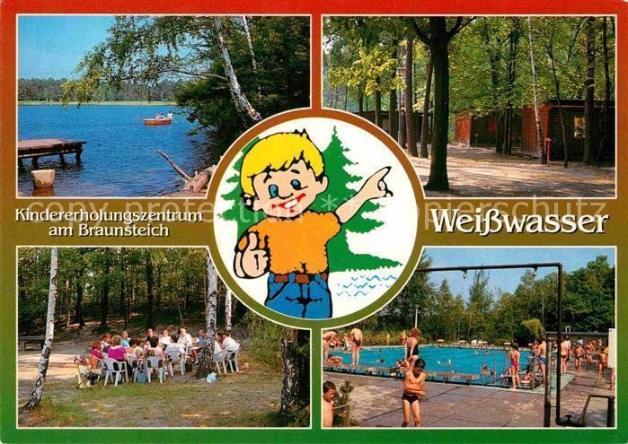 AK / Ansichtskarte Weisswasser Oberlausitz Kindererholungszentrum am Braunsteich Bungalows Freibad Kat. Weisswasser