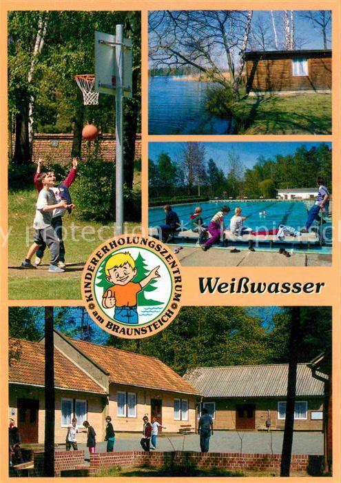 AK / Ansichtskarte Weisswasser Oberlausitz Kindererholungszentrum am Braunsteich Bungalows Freibad Basketball Kat. Weisswasser