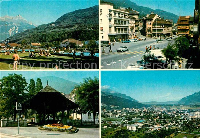 AK / Ansichtskarte Monthey Monthey La piscine Pont couvert Place du Marche Panorama Kat. Monthey
