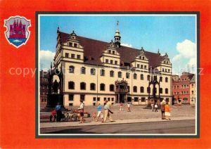 AK / Ansichtskarte Wittenberg Lutherstadt Rathaus Martin Luther Denkmal Melanchthon Denkmal Wappen Kat. Wittenberg
