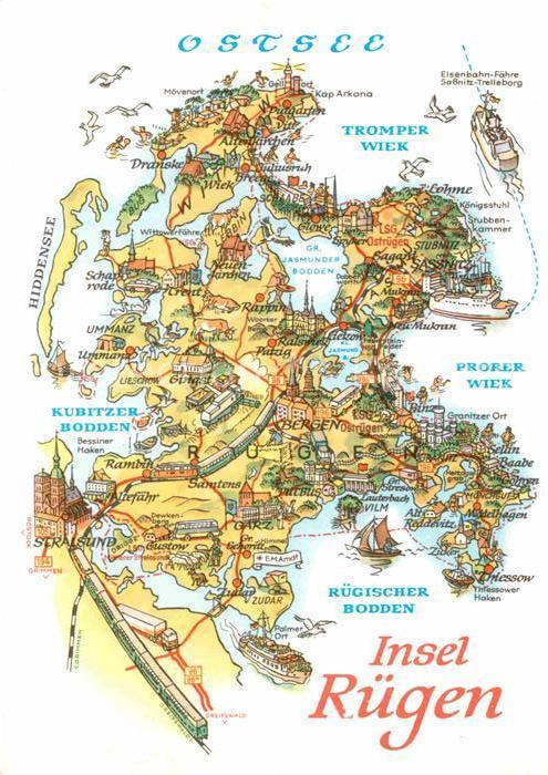 Ak Ansichtskarte Insel Ruegen Landkarte Mit Sehenswuerdigkeiten