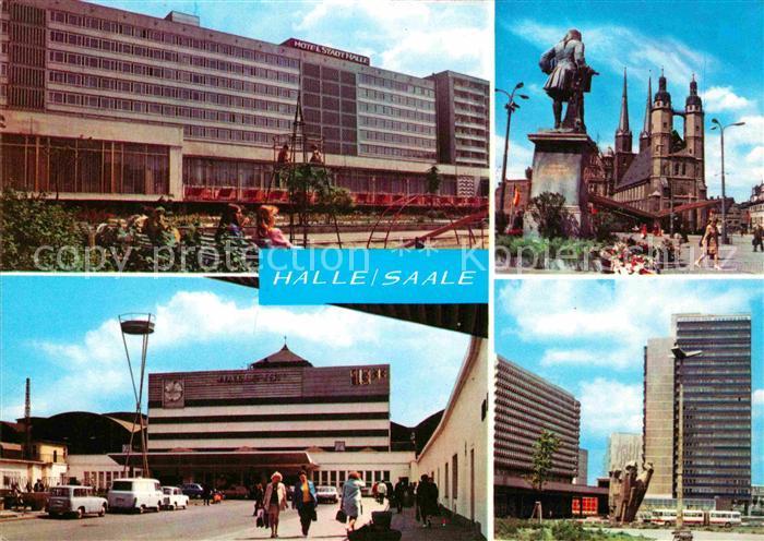 AK / Ansichtskarte Halle Saale Interhotel Stadt Halle Markt Haendel Denkmal Ernst Thaelmann Platz Hochhaus Kat. Halle